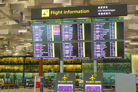 Flights information board フォト