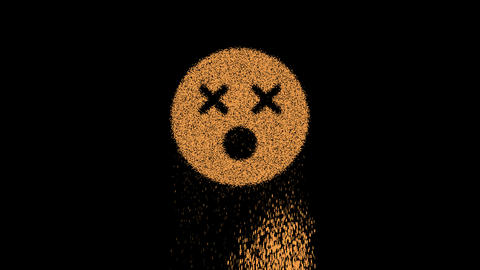 Symbol dizzy appears from crumbling sand. Then crumbles down. Alpha channel Premultiplied - Matted Animation