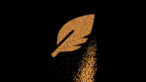 Symbol sharp feather appears from crumbling sand. Then crumbles down. Alpha channel Premultiplied - Animation