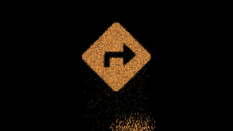 Symbol directions appears from crumbling sand. Then crumbles down. Alpha channel Premultiplied - Animation