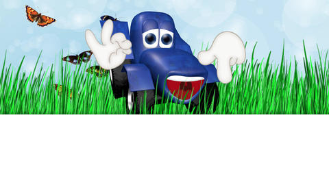 Funny tractor farm farm machinery cartoon illustration Animation