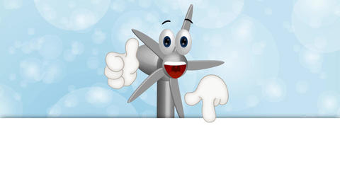 Funny Wind Power Turbine Cartoon Character Comic Animation