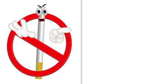 Funny no smoking sign cigarette cartoon comic illustration Animation