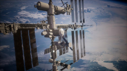 International Space Station in outer space over the planet Earth Footage