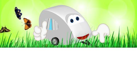 Funny caravan camping cartoon illustration comic Animation