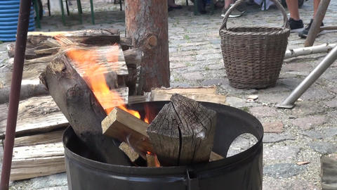 fire bowl with wood and flames in a garden medieval ビデオ