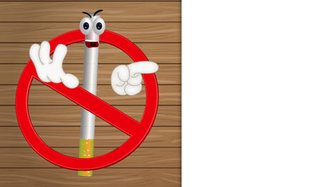 Funny no smoking sign cigarette cartoon comic illustration Animation