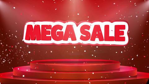 Mega Sale Text Animation Stage Podium Confetti Loop Animation Footage