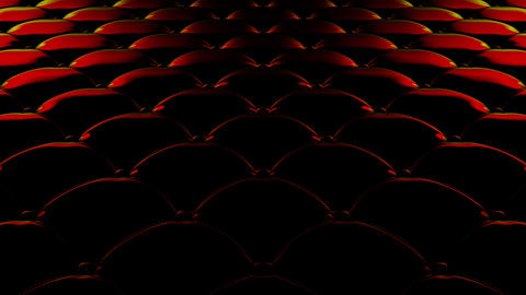 3D animation of the flight over a black quilted vinyl surface with red reflections of light. Looped Animation