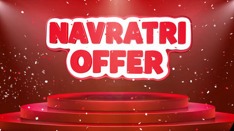 Navratri Offer Text Animation Stage Podium Confetti Loop Animation Footage