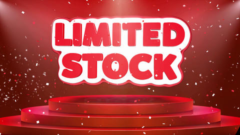 Limited Stock Text Animation Stage Podium Confetti Loop Animation Live Action