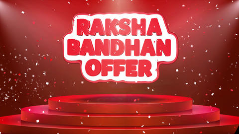 Raksha Bandhan Offer Text Animation Stage Podium Confetti Loop Animation Live Action