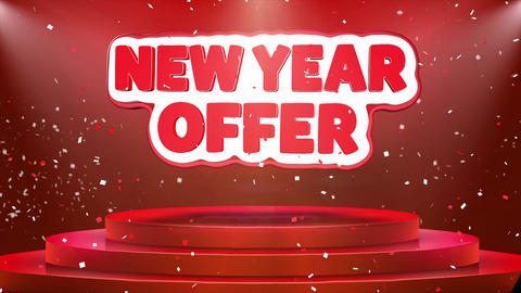 New Year Offer Text Animation Stage Podium Confetti Loop Animation Footage