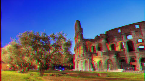 Glitch effect. Colosseum, Rome, Italy. Camera movement, TimeLapse Live Action