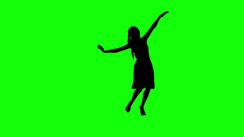 Silhouette of a Girl Dancing on a Green Screeen Footage
