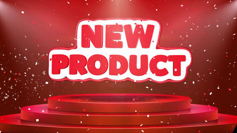 New Product Text Animation Stage Podium Confetti Loop Animation Footage