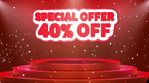 40 off Special Offer Text Animation Stage Podium Confetti Loop Animation Footage