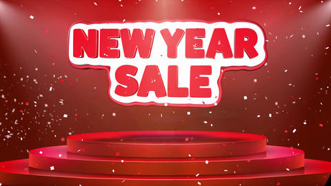 New Year Sale Text Animation Stage Podium Confetti Loop…, Live Action
