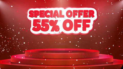 55 off Special Offer Text Animation Stage Podium Confetti Loop Animation Footage
