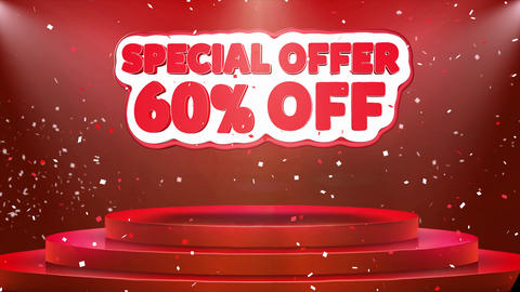 60 off Special Offer Text Animation Stage Podium Confetti Loop Animation Footage