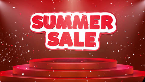 Summer Sale Text Animation Stage Podium Confetti Loop Animation Live Action