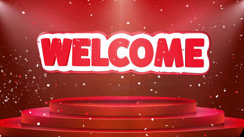 Welcome Text Animation Stage Podium Confetti Loop Animation Footage