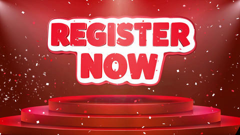 Register Now Text Animation Stage Podium Confetti Loop Animation Footage
