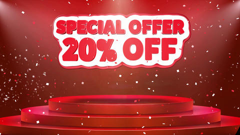 20 off Special Offer Text Animation Stage Podium Confetti Loop Animation Footage