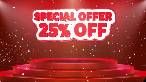 25 off Special Offer Text Animation Stage Podium Confetti Loop Animation Live Action