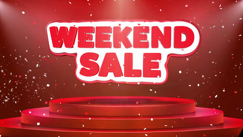Weekend Sale Text Animation Stage Podium Confetti Loop Animation Live Action