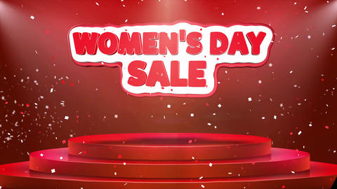 Women's Day Sale Text Animation Stage Podium Confetti Loop Animation Footage