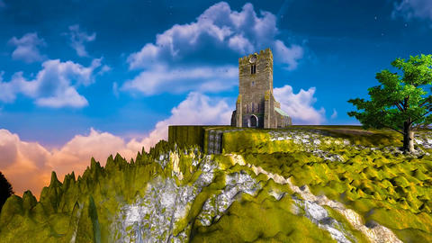 01 3d animated landscape of mountain church with moving clouds Animation
