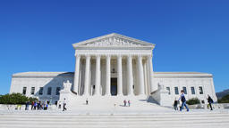 US Supreme Court in Washington DC with people, security guards, people walking Footage
