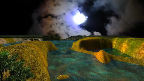 10 3 D animated landscape of small lake in mountain under night sky with moon Animation