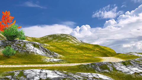 14 3d animated landscape of road on mountain under movining clouds on sky Animation