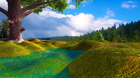 08 3d animated landscape of small lake in forest and a blue sky with clouds Animation
