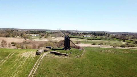 Aerial View of Historic Danish Windmill ビデオ