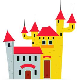 Flat cartoon castle with isolated white background vector illustration ベクター