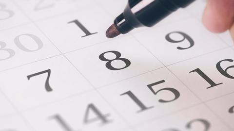 Marked the eighth 8 day of a month in the calendar... Stock Video Footage