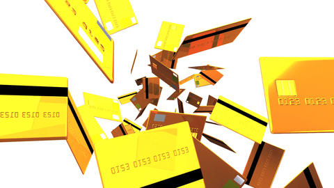 Gold Credit cards on white background Animation