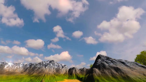 16 3 D animated landscape of top mountain under movining clouds Animation