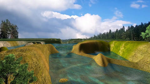 06 3d animated landscape beautiful forest lake amd with clouds sky Animation