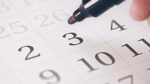 Marked the third 3 day of a month in the calendar... Stock Video Footage