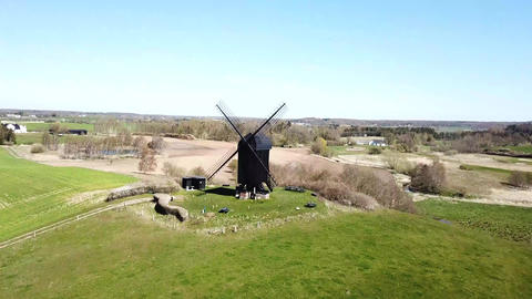 Aerial View of Historic Danish Windmill Footage