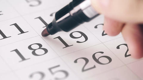 Marked the nineteenth 19 day of a month in the calendar transforms into SAVE THE Footage