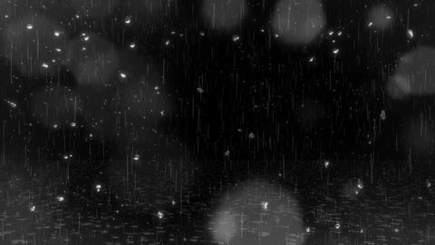Rain & Water Drops & Bokeh Lights & Ripples on Ground Overlay Loop V2 Animation