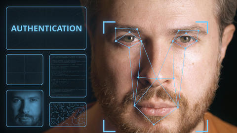 Computer system scanning face of a man. Digital authentication related clip GIF