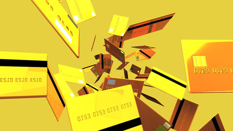 Gold Credit cards on beige background Animation