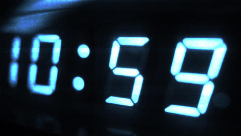 4K Digital Clock Turn to 11 Futuristic Design 1 Footage