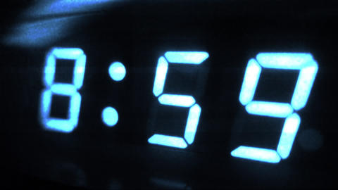 4K Digital Clock Turn to 9 Futuristic Design 1 Footage